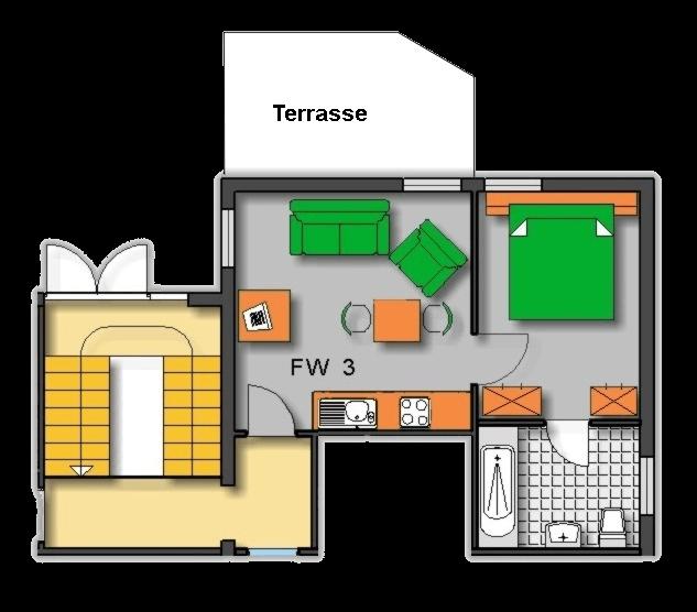 Lageplan Haus 2 Erdgeschoss Ferienwohnung 3