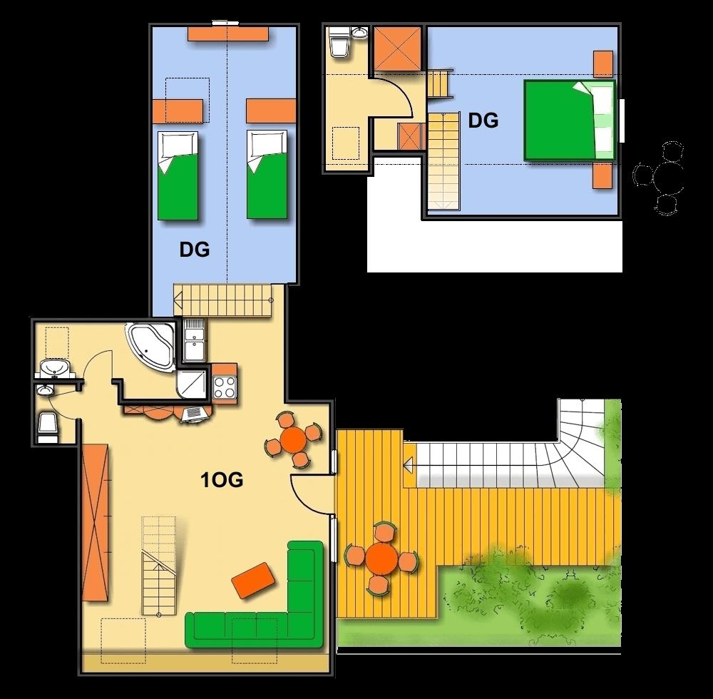 Lageplan Haus 3 Dachgeschoss Ferienwohnung 14
